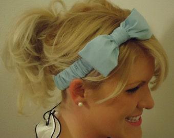 Light Blue bow headband retro/feminine