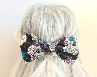 Sugar skull big bow hair clip bow barrette