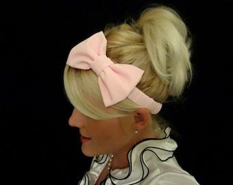 Ballet slipper pink bow stretch headband pinup/retro/kawaii