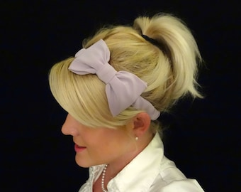 Feminine lilac bow stretch headband pinup/retro/kawaii