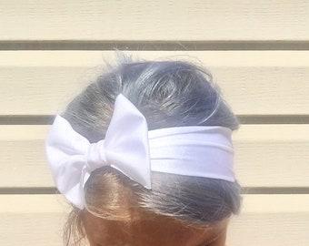 White stretch bow headband women bow headband workout headband