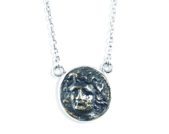 Medusa Necklace - 925 Sterling Silver - Layering Necklace- Ancient Coin
