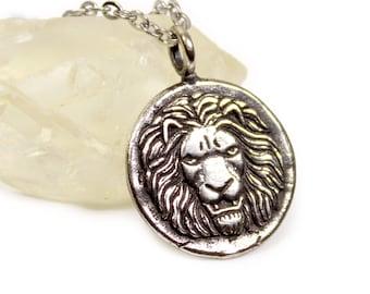 Lion Silver Necklace Roman Lion minimal necklace Silver Medallion Necklace Silver Sun gift for HIM ancient roman coin necklace
