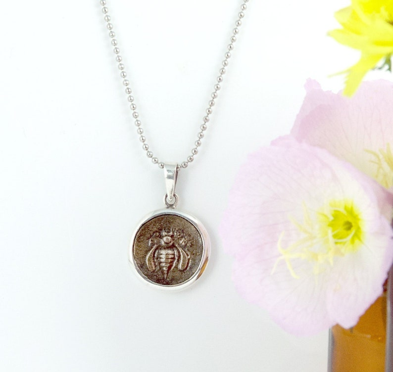 Sterling Silver Honeybee Ancient Coin Pendant Antique Coin Pendant Vintage