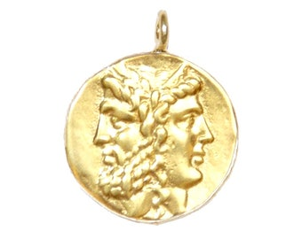 GOLD Ancient Coin Pendant, Greek Janus, Greek coin pendant Janus - mythology - God of Resets