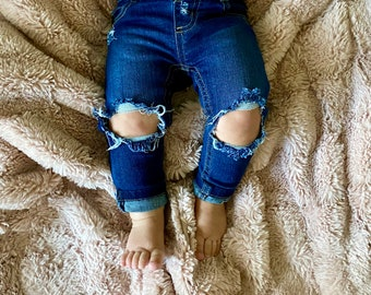 Distressed Boys Girls Skinny Stretchy Jeans