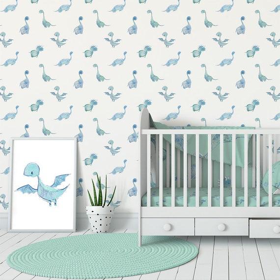 Baby Boy Nursery Wallpaper Dinosaur Wallpaper Wall Decor Blue Watercolor Wallpaper Removable Wall Paper Peel And Stick Wallpaper Roll