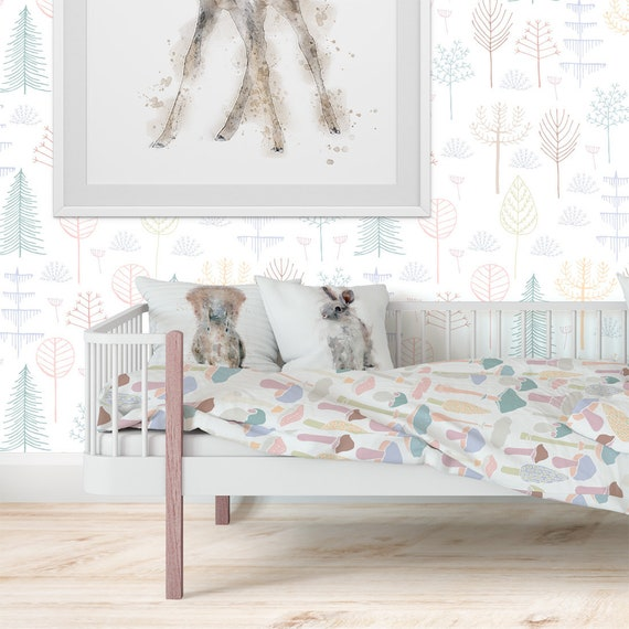 Woodland trees wallpaper for girls bedroom feature wall. Peel and stick  Wallpaper Roll. Removable wall paper. Forest Nursery wallpaper