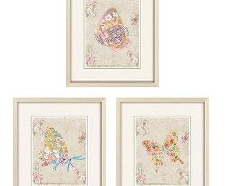 butterfly art Baby girl nursery decor shabby chic nursery art cottage chic print baby nursery butterfly decor kids baby shower gift for mom