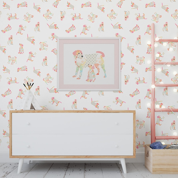 Dog Wallpaper Peel And Stick Removable Wall Paper Baby Girl Dog Lover Nursery Wallpaper Shabby Chic Pink Wallpaper Animal Wall Mural