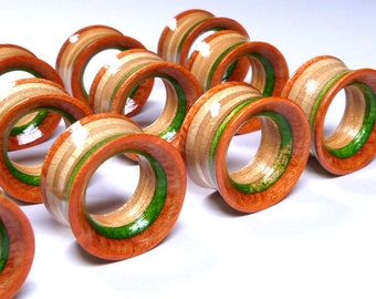 Pair of Plugs Ear Plugs Wooden Plugs Wood Tunnel Wood Tunnels Gauges Wooden Plug Recycled Skateboards Plugs and Tunnels Ear Gauge