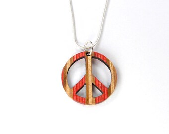 Peace sign necklace etsy recycled skateboards peace sign necklace wooden jewellery unique gifts boho hippy necklace wood peace sign hippie gifts peace symbol aloadofball Images