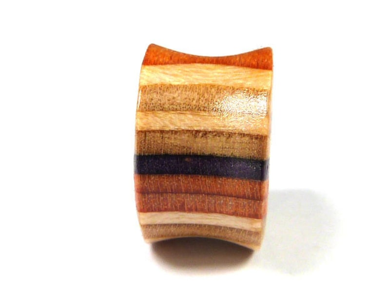 Plugs and Tunnels Ear Plugs Wooden Plugs Single Plug Wood Tunnels Gauges Wooden Plug Ear Gauge Recycled Skateboards Wood Tunnel