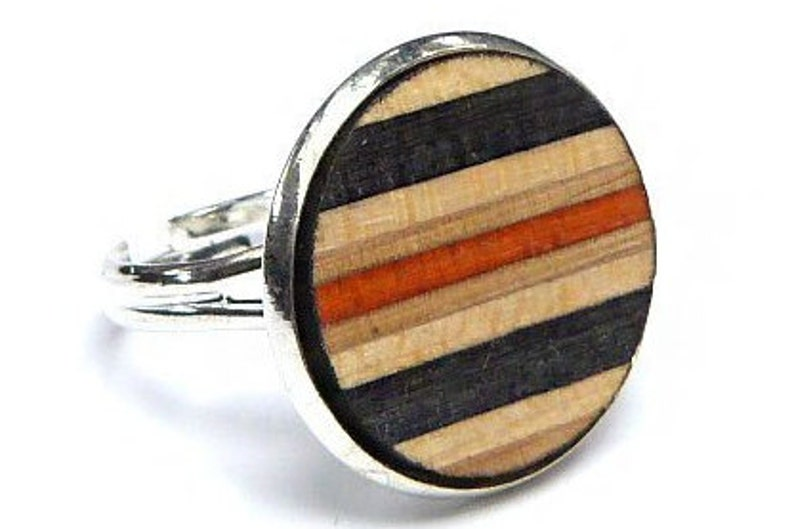 RECYCLED SKATEBOARD Adjustable Wood Ring Wooden Rings Colourful Round Handmade