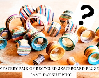 MYSTERY Recycled Skateboards PAIR of PLUGS, Plugs and Tunnels, Ear Gauge, Wooden Plug, Wood Tunnel, Wooden Plugs, Wood Tunnels,