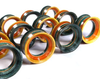 """Recycled Skateboards, 20mm (13/16"""") Plugs, Plugs and Tunnels, Ear Gauge, Wooden Plug, Wood Tunnel, Wooden Plugs, Wood Tunnels, Gauges"""