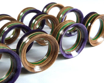 """Recycled Skateboards, 24mm (15/16"""") Plugs, Plugs and Tunnels, Ear Gauge, Wooden Plug, Wood Tunnel, Wooden Plugs, Wood Tunnels, Gauges"""