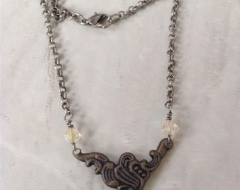 Steampunk Heart Lock Crystal Chain Necklace