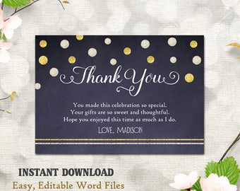 Birthday Thank You Template Party Cards Printable Card DIY Bling Gold Glitter Blue Chalkboard