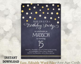 Printable birthday party invitation template 15th birthday etsy printable birthday party invitation template 15th birthday 16th birthday bling gold glitter blue chalkboard diy birthday invites any age filmwisefo
