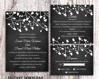 wedding invitation template download printable invitations etsy