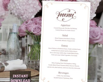 Printable Wedding Menu Template DIY Menu Card Template, Script Menu Template, Editable Menu, Coffee Menu Download Calligraphy Menu, Swirl