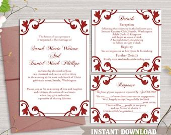 Wedding Invitation Template Download Printable Wedding Invitation Editable Invitation Wine Red Invitations Elegant Wedding Invites DIY- DG32