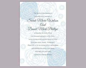 Wedding Invitation Template Download Printable Wedding Invitation Editable Blue Invitations Floral Invitation Rose Wedding invites DIY- DG29