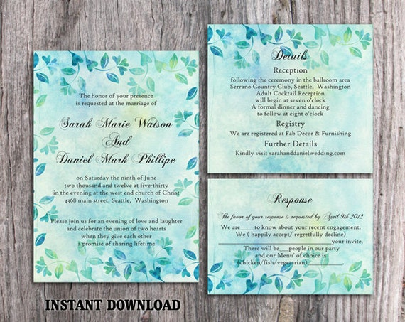 Rustic Wedding Invitation Template Download Printable Etsy