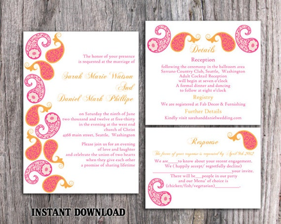 Bollywood Wedding Invitation Template Download Printable Invitations Editable Orange Pink Indian Invites Paisley DIY DG39