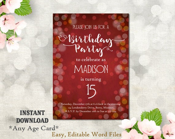 Printable birthday party invitation template 15th birthday etsy image 0 filmwisefo