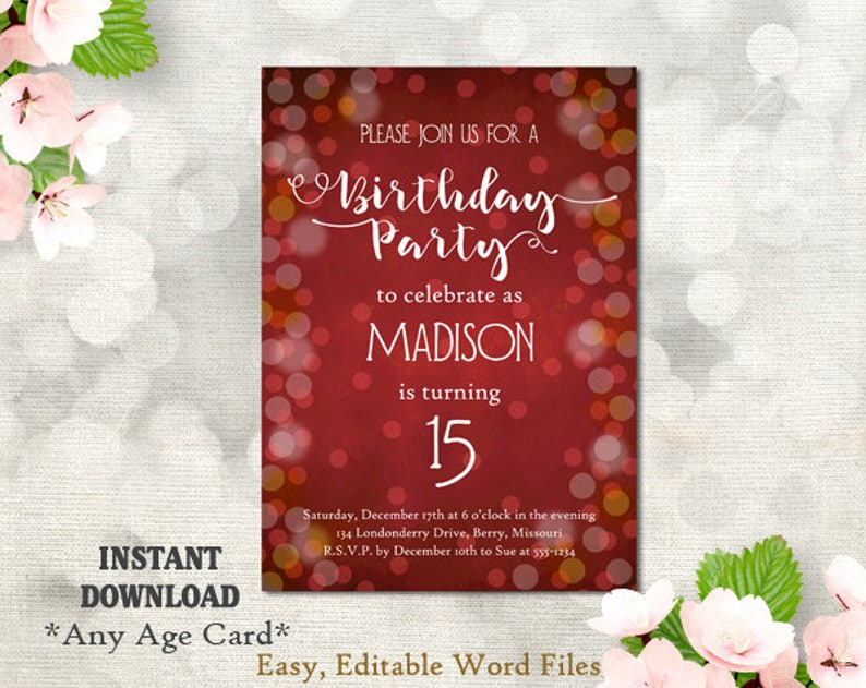 Printable Birthday Party Invitation Template 15th