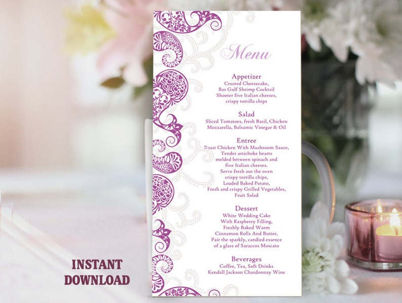 Printable Menu Template Bollywood Wedding Menu Card Eggplant Indian Menu  Paisley Menu Instant Download Editable Purple Menu Sign Bar Menu