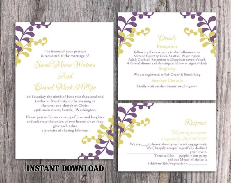 Wedding Invitation Template Download Printable Invitations Editable Leaf Invitation Elegant Eggplant Wedding Invitation Green Card DIY DG03