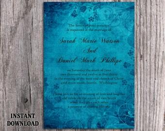Rustic Wedding Invitation Template Download Printable Wedding Invitation Editable Vintage Invitations Blue Invitation Floral Cards DIY- DG47