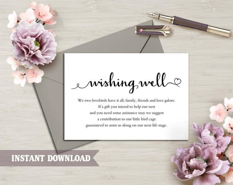 Wedding Wishing Well.Wishing Well Card Wedding Wishing Well Wishing Well Printable Wishing Well Bridal Shower Wedding Insert Heart Script Wishing Well Template