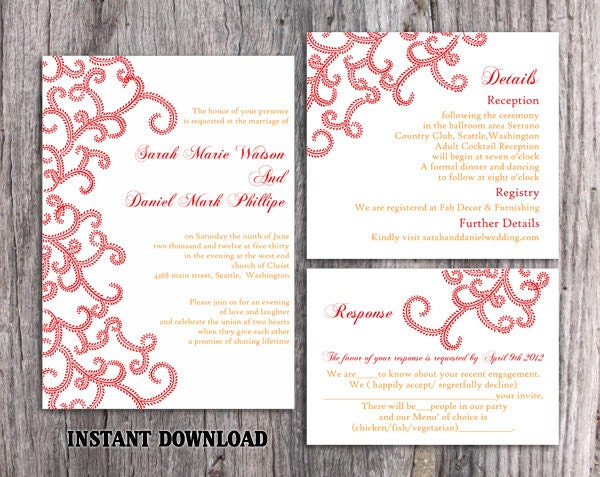 Sale Bollywood Wedding Invitation Template Download Printable Red