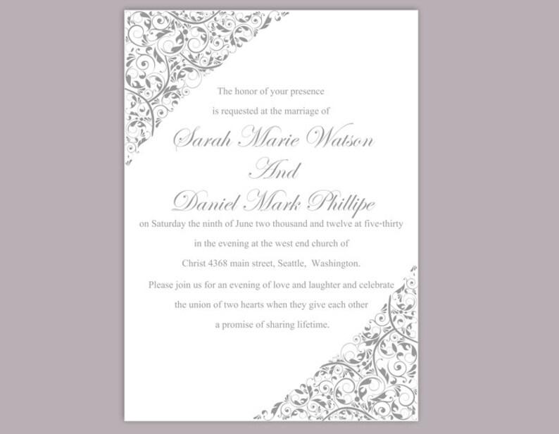Wedding Invitation Template Download Printable Editable Silver Gray Elegant Floral Invites DIY DG09