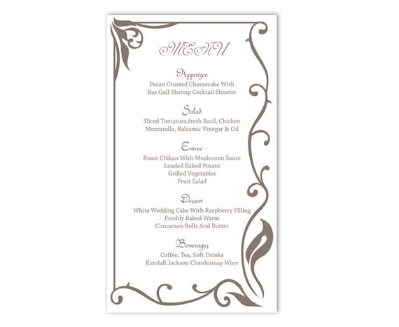 Wedding Menu Template DIY Card Editable Text Word File Instant Download Elegant Gray Printable 4x7inch