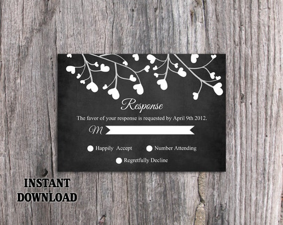 diy wedding rsvp template editable word file instant download etsy