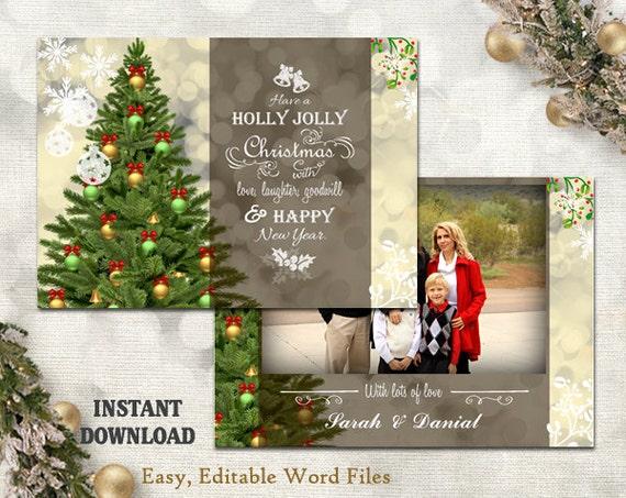 Christmas Card Template Holiday Greeting Card Christmas Etsy