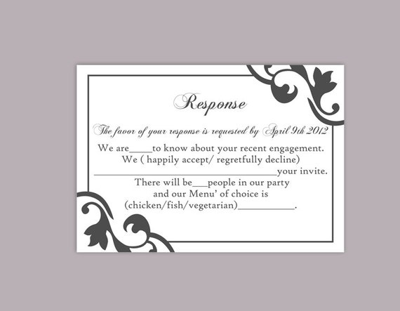 Buy Wedding Invitations Online Uk: DIY Wedding RSVP Template Editable Text Word File Instant