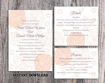 Wedding Invitation Template Download Printable Wedding Invitation Editable Invitations Peach Floral Invitation Rose Wedding Cards DIY DG29