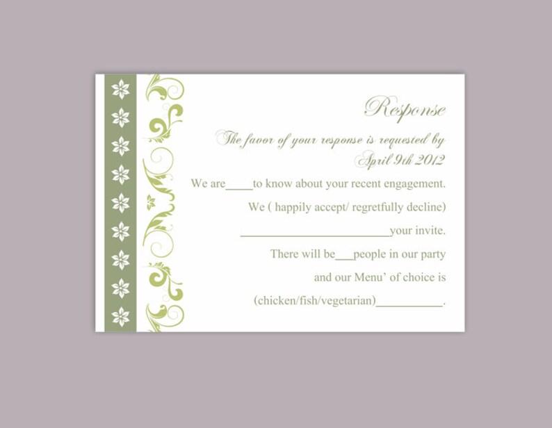 DIY Wedding RSVP Template Editable File Instant Download Rsvp Template  Printable RSVP Cards Olive Green Rsvp Elegant Response Card - DG17