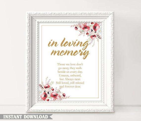 In Loving Memory Printable Wedding Signs Templates Etsy