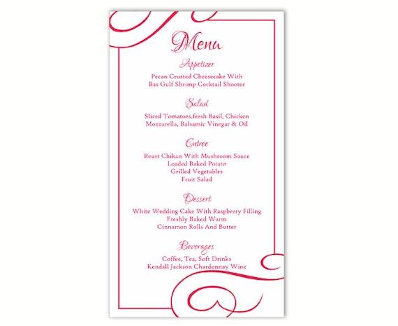 Wedding Menu Template Diy Menu Card Template Editable Text Word File Instant Download Fuchsia Hot Pink Menu Template Printable Menu 4x7inch