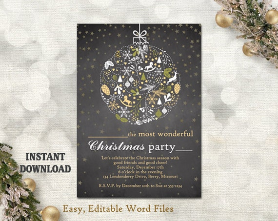 Christmas party invitation card chalkboard printable etsy image 0 m4hsunfo