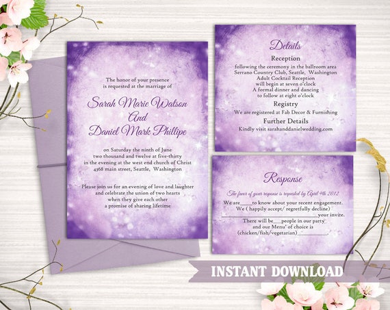 rustic wedding invitation template download printable wedding etsy