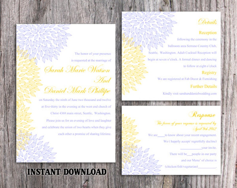 Wedding Invitation Template Download Printable Wedding Invitation Editable Blue Invitations Floral Invitation Yellow Invitation Diy Dg12