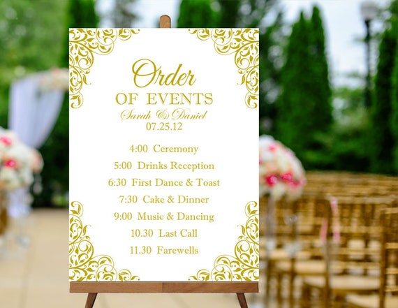 Printable Order Of Events Sign Gold Wedding Sign Printable Etsy